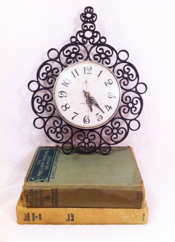 Vintage Scroll Filagree Wall Clock Shabby by UniqueChicAndRustics,
