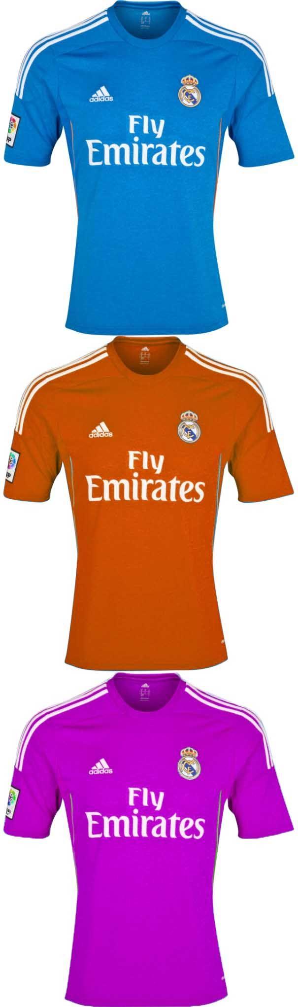 Real Madrid tenue in verschillende kleuren. ( Blauw is het originele)