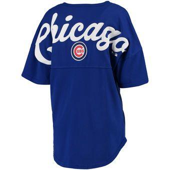 Women's Chicago Cubs Royal Oversized Spirit Jersey V-Neck T-Shirt