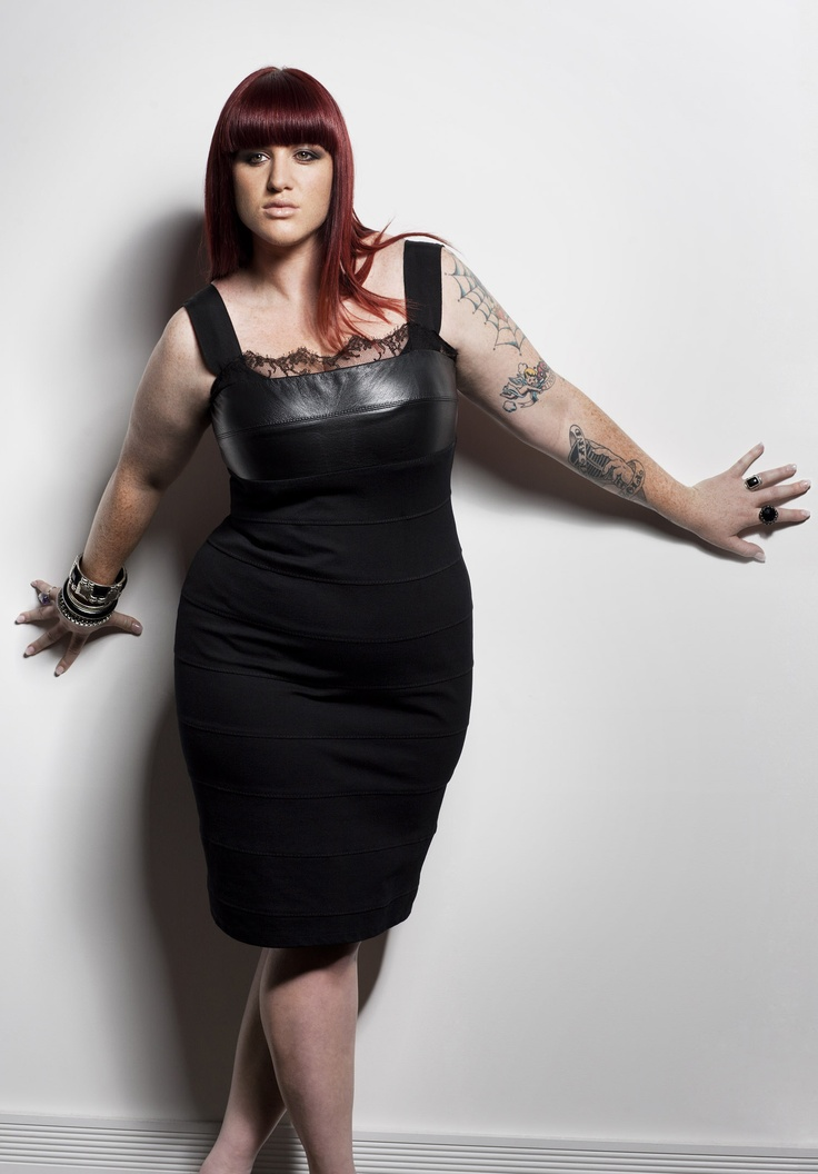 Plus size leather and lace dress