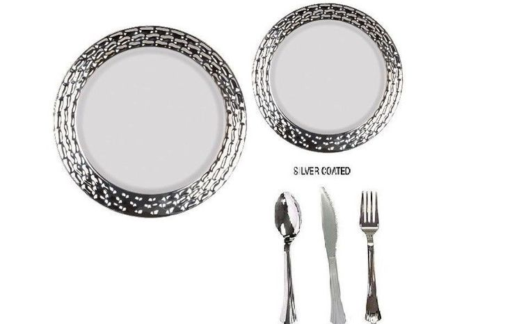 Bulk wedding anniversary dinner party disposable plastic plates silverware  sc 1 st  Pinterest & 8 best Wedding plastic plates images on Pinterest | Wedding parties ...