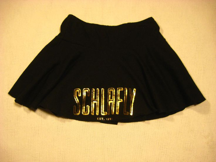 Womens Mini Skirt Size Medium SCHLAFLY Brewery St Louis MO Missouri Gold Letters #AmericanApparel #Mini #Schlafly