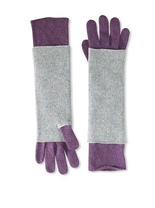Portolano Women's Cashmere Armwarmer and Glove Set (Prune/Light Grey)