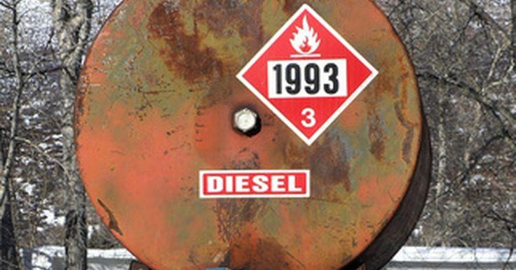 Etiquetas de seguridad requeridas en los tanques de combustible diesel. La ley exige etiquetas específicas sobre los tanques, bombas y las latas que contienen combustible diesel. Las etiquetas de seguridad advierten que el combustible es inflamable y otras etiquetas identifican el tipo de diesel en el interior del contenedor.