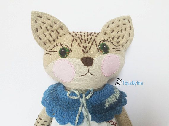 Cat stuffed doll  Animal toy  Cat ragdoll  Dress up doll  Soft