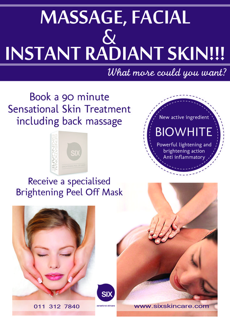 Treatment Promotion October 2014 Do not miss out #sixsensationalskincare  Treatment this month book a 90min SIX Sensational skin treatment and get a intensive brightening peel off mask Free.  This magical facial includes a Back massage and intensive hand and arm massage. Book now by contacting www.sixskincare.com to find a participating stockiest.