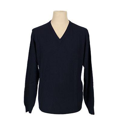 Maglia collo a v misto cachemere - Blu - Invernale MELAVERDE. € 39,10. #hallofbrands #hob #maglia #sweater #jersey #knitwear #invernale #wintry #winter