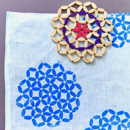 blog Vera Moraes - Decoração - Adesivos Azulejos - Papelaria Personalizada - Templates para Blogs: Faça Você Mesmo - Estampas para tecido com carimbos