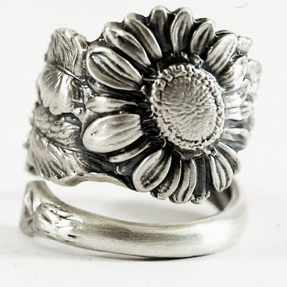 Sunflower Ring, Sterling Silver Spoon Ring, Art Nouveau, Sunflower Jewelry, Thumb Ring, Floral Ring, Flower Ring, Adjustable Ring Size