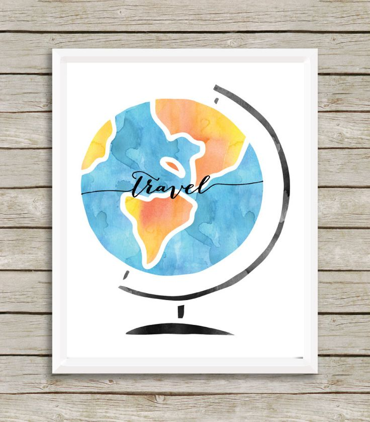 Travel, Watercolor Globe Wall Print by EllsieDesigns on Etsy