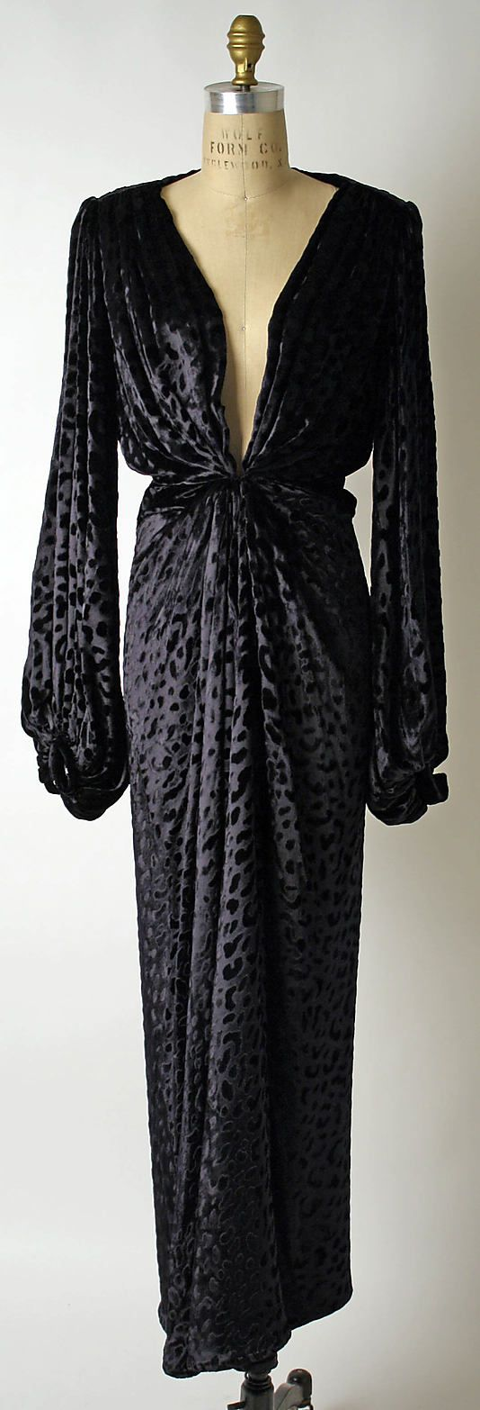Black leopard-pattern silk velvet evening dress by Yves Saint Laurent, French, ca. 1985.