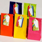 Rainbow party bags and kids rainbow gift tags by KatyJane Designs