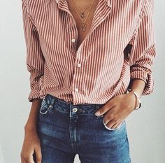button down shirt and blue denim jeans women's fashion streetwear street style