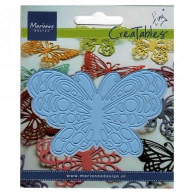 Butterfly 2 - Creatables by Marianne Design - Creatables are stencils for cutting and embossing paper. Always be careful when rolling the Creatables through the machine (there are different ways of stacking). After cutting remove the tiny paper particles from the stencil.