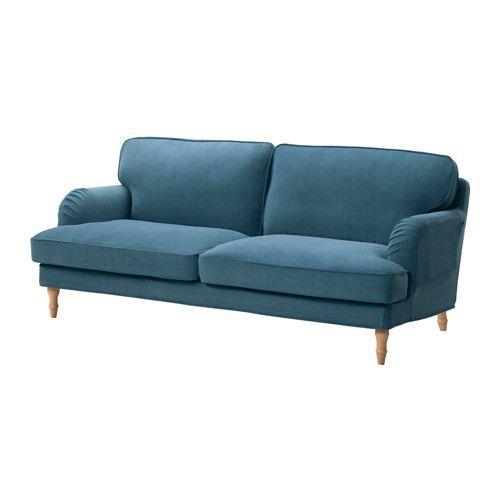 STOCKSUND Sofá de 3 lugares - Ljungen azul, castanho claro - IKEA