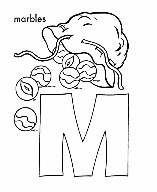 ABC Coloring Sheet Letter M Is For Marbles