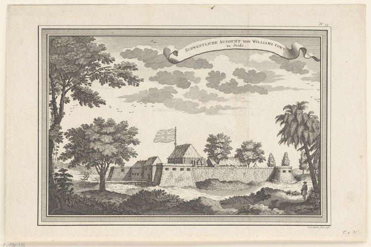 Frans de Bakker | Gezicht op Fort Williams in Whida of Juida, Frans de Bakker, 1748 | Gezicht op het fort met gehesen Britse vlag.