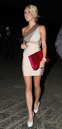 Herve Leger dress and Prada clutch