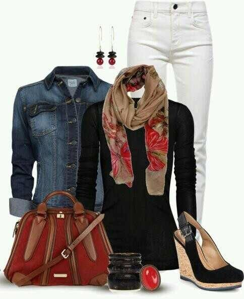 Fall outfit: jean jacket, black sweater and white jeans