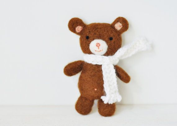 Teddy bear toy with knitted scarf  by ShpilkaFelt, $18.00