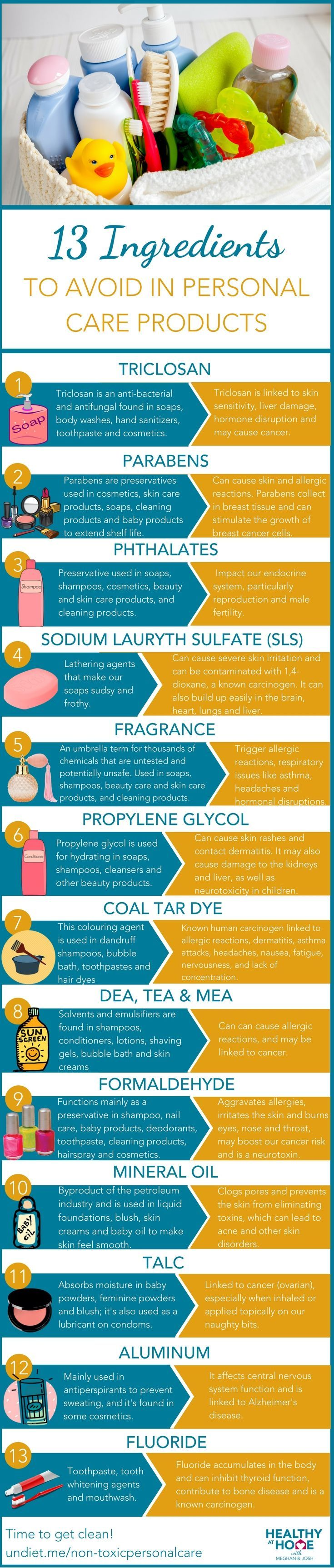 harmful chemicals found in personal health care products Some of the ingredients in cosmetics and personal care products are toxic chemicals that may be hazardous to your health take a look at some of the ingredients to watch for and the health concerns raised by these chemicals.