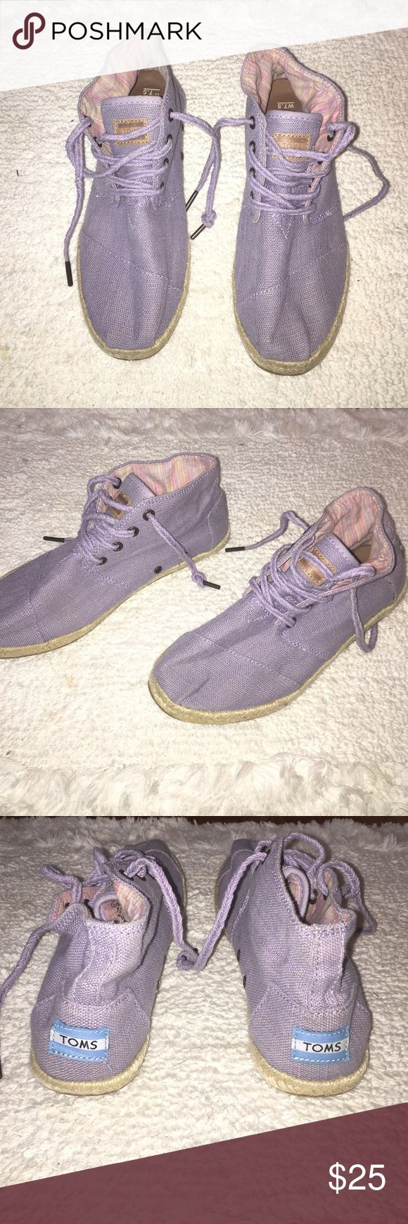 Purple Toms ankle shoes Purple ankle shoes so cute and comfortable ! Purple laces. Barely worn TOMS Shoes Ankle Boots & Booties