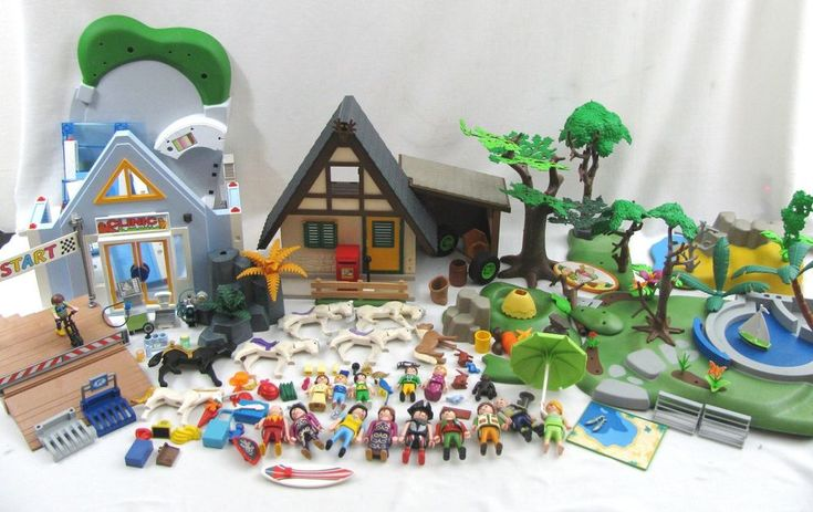 PLAYMOBIL Huge LOT Parts 4207 Forest Lodge House Vet Clinic 4343 Beach Landscapeand others  for sale #PLAYMOBIL #retired #playset