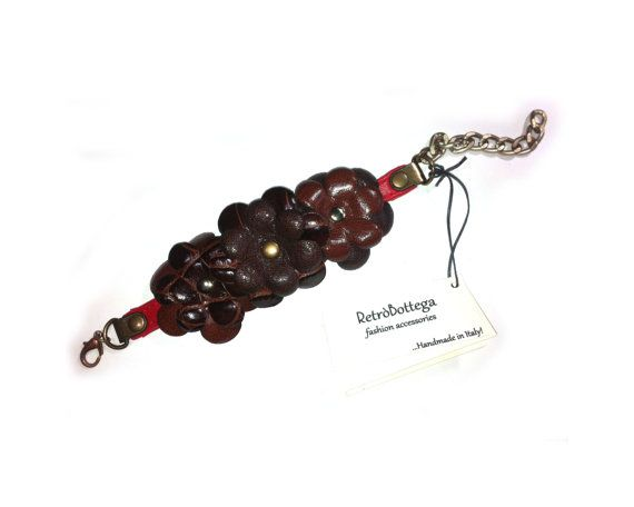 precious leather bracelet with brown flowers  by RetroBottegaLab, $27.50