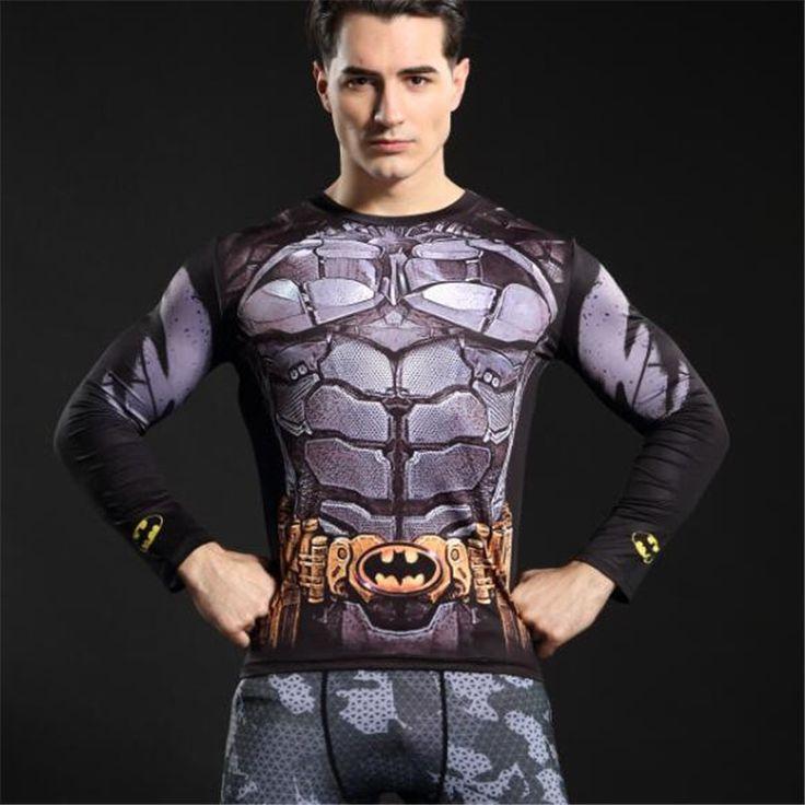 GYMGALA 2017 new Men Crossfit  Long Sleeve Compression Shirt Marvel 3D Superhero Superman T Shirt Tight Fitness Men Tops & Tees