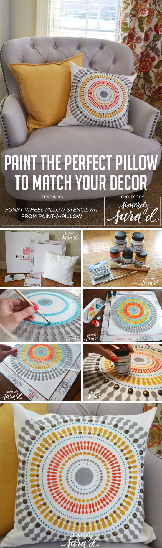 Cutting Edge Stencils shares how to easily create DIY accent pillows using the Funky Wheel Paint-A-Pillow kit. http://paintapillow.com/index.php/funky-wheel-paint-a-pillow-kit.html