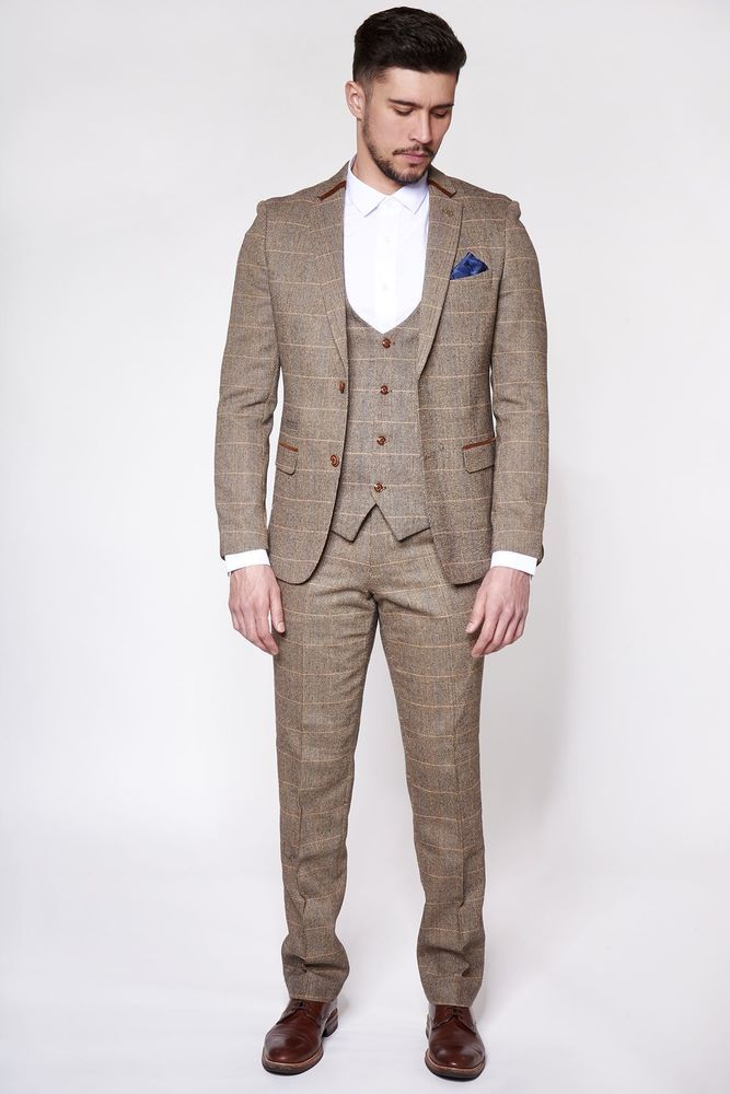 Mens Marc Darcy Tweed Blazer Waistcoat Formal Casual Dinner Jacket Tailored Fit