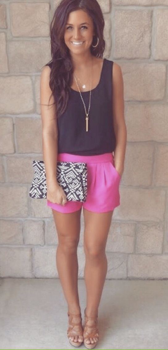 Black tank, pink shorts, and wedges. Summer outfit