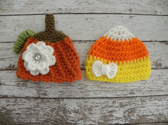 Twin girl Halloween hats. Twin girl by TrebleStitchBoutique, $36.00