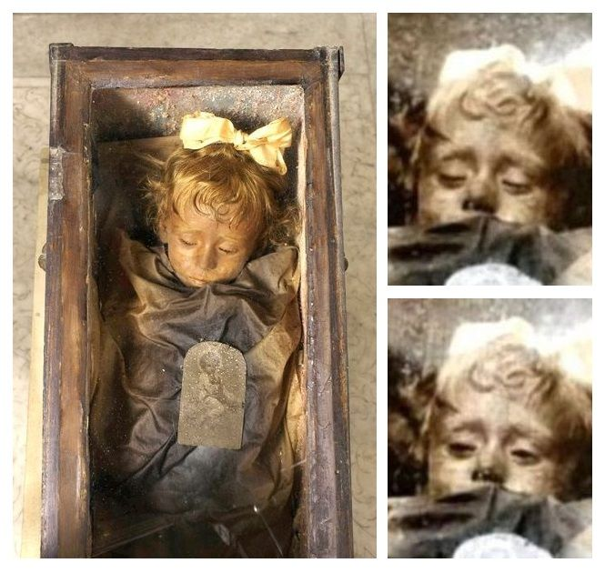 Rosalia Lombardo was an Italian child who died of Pnuemonia aged 2 in 1920. Her father had her body embalmed and placed in the Capuchin Catacombs of Palerno in Sicily. It is the best preserved mummy in the catacombs. The strange thing is that visitors to the catacombs have witnessed Rosario 'blinking' her eyes.