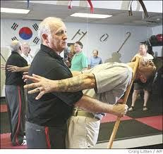 Self Defense for Senior Citizens. The cane is a weapon used in Korean martial arts, but let's not forget why the person is using the cane to begin with.