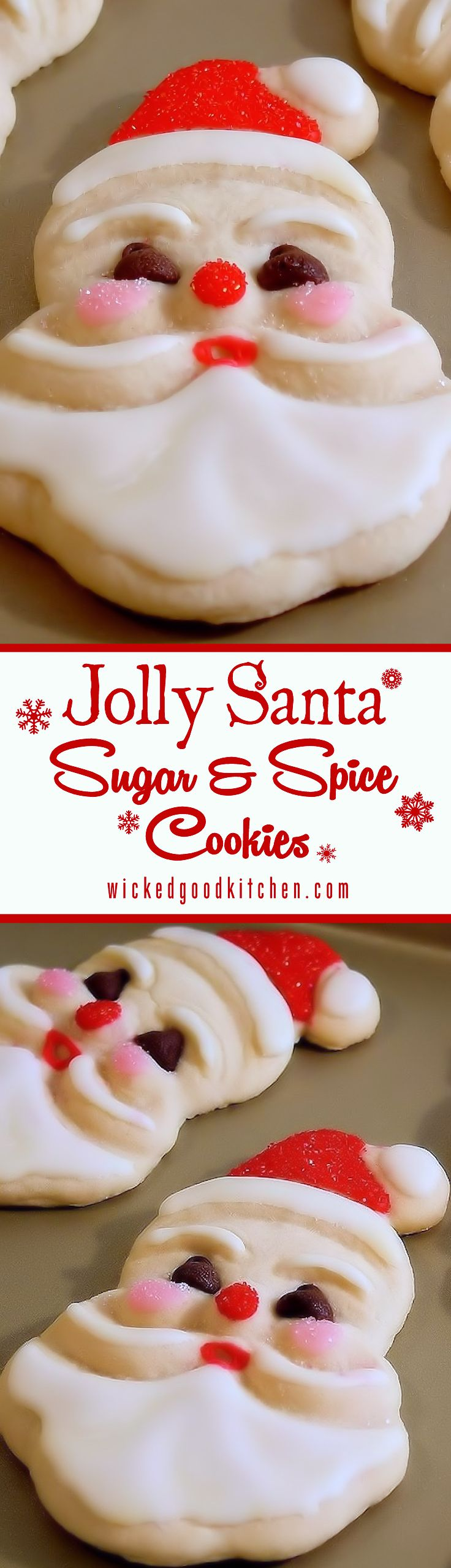 Old-Fashioned Jolly Santa Sugar & Spice Sugar Cookies ~ Just like Grandma used to bake! This Christmas bake these nostalgic lightly spiced sugar cookies. The recipe is ideal for young bakers as the dough handles easily. Includes easy recipe for Grandma's Sugar Cookie Icing. Kids and adults LOVE them!