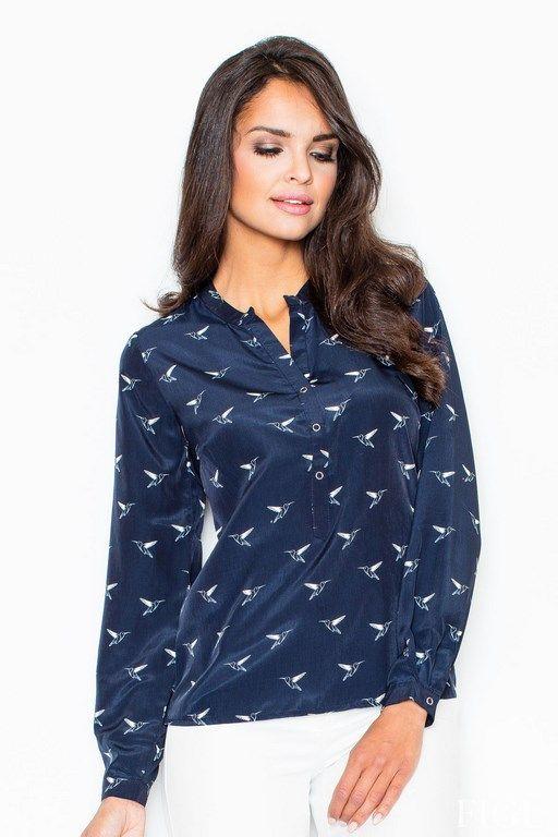 Granatowa koszula damska z mankietami