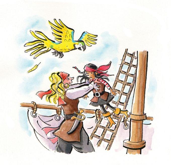 """""""Piraat Puck"""": allemaal vrouwen op een piratenschip : de kapitein, de kok en Puck. 1 man 'Mans' die is gewoon matroos, eerste leesboekje."""