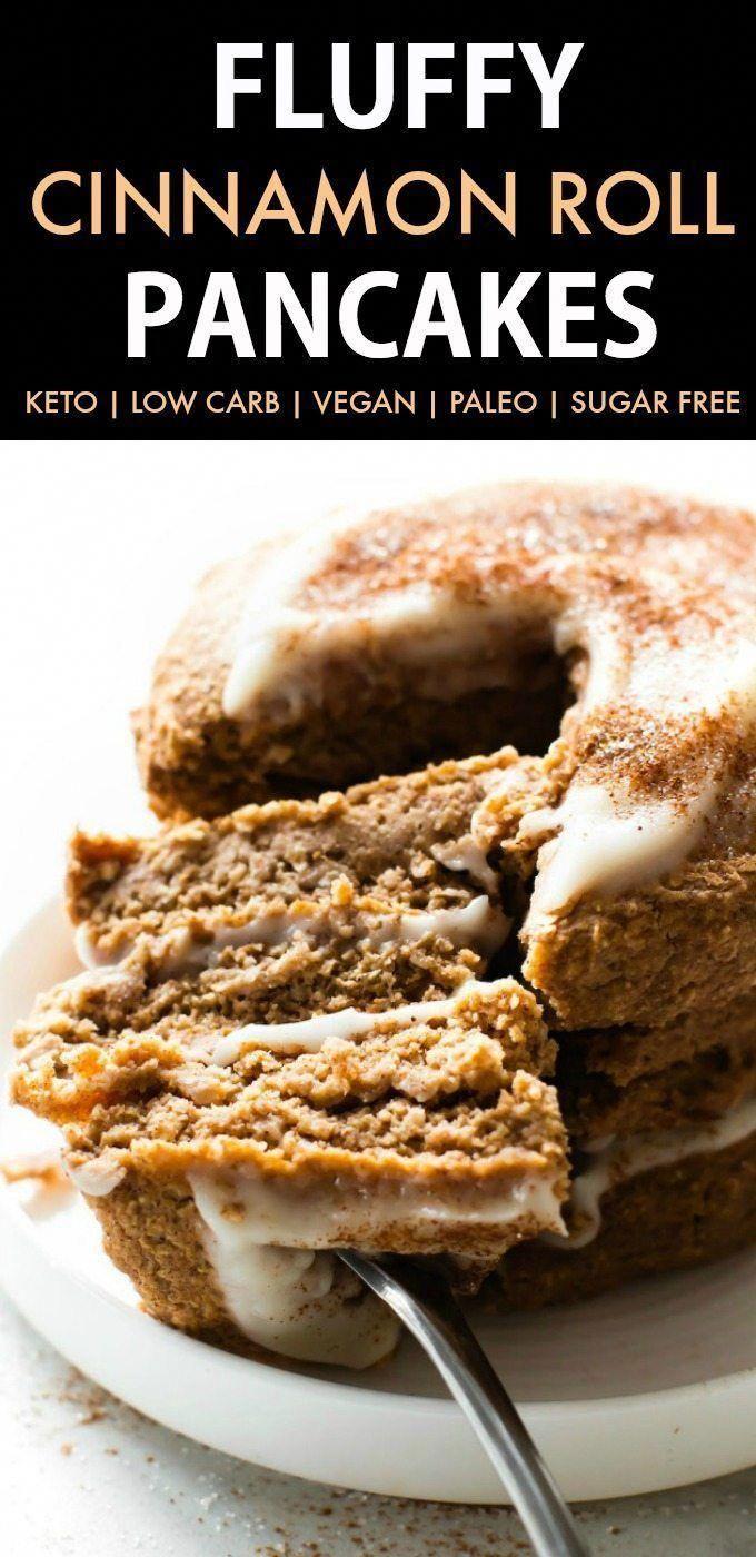 Flauschige kohlenhydratarme Keto-Zimtbrötchen-Pfannkuchen (Paleo, vegan, zuckerfrei, glutenfrei)   – healthy fast food