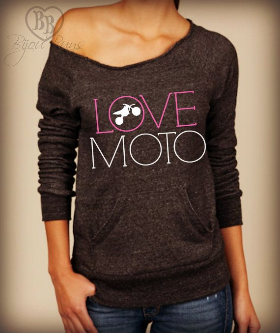 Hey, I found this really awesome Etsy listing at https://www.etsy.com/listing/169118285/love-moto-2-design-on-wideneck-fleece