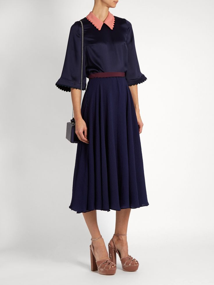 Colvin seersucker skirt  | Roksanda | MATCHESFASHION.COM UK