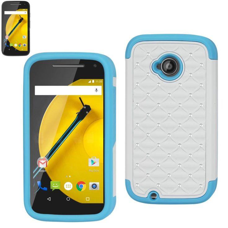 Reiko Diamond Hybrid Protector Cover Motorola Moto E Lte (2Nd Generation) Xt1527-Xt1511-Xt1505-Xt1524 Blue White