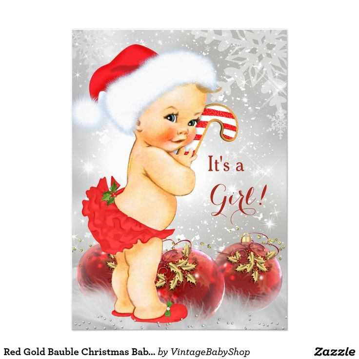 Red Gold Bauble Christmas Baby Shower Blonde 5x7 Paper Invitation Card
