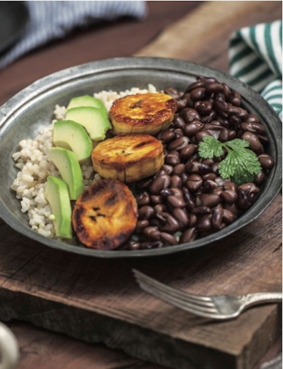 vegan cuban brown rice bowl with sweet plantains recipe | vegkitchen.com
