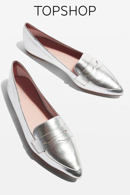 The loafer trend lives on. Revive them with this pair updated in a silver finish. An easy, slip-on style, they come with chic pointed toes.