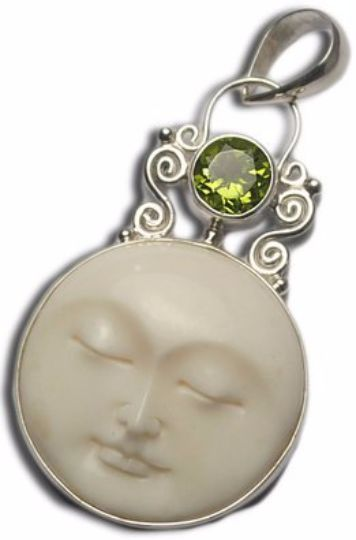 Hand Carved Moon Face Buffalo Bone Green Peridot 925 Sterling Silver Pendant