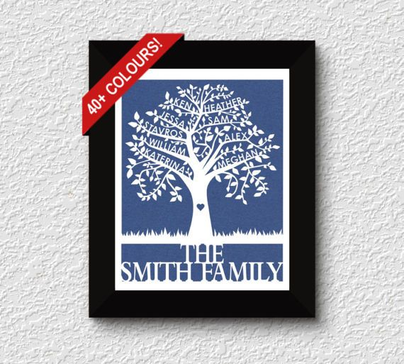 Handmade by FlyingOwlStudio on Etsy - This beautiful Family Tree Papercut is personalized with between 7 to 11 names on the branches, with a last name or message at the bottom. It is a unique and meaningful piece of art for your own home, or a sentimental gift for a loved one. There are over 40 colours to choose from, to easily match any décor. This papercut comes unframed. The delicate cuts will look stunning in any simple frame of your choosing.