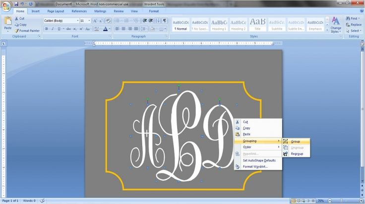 How to make monogram labels in MS Word.
