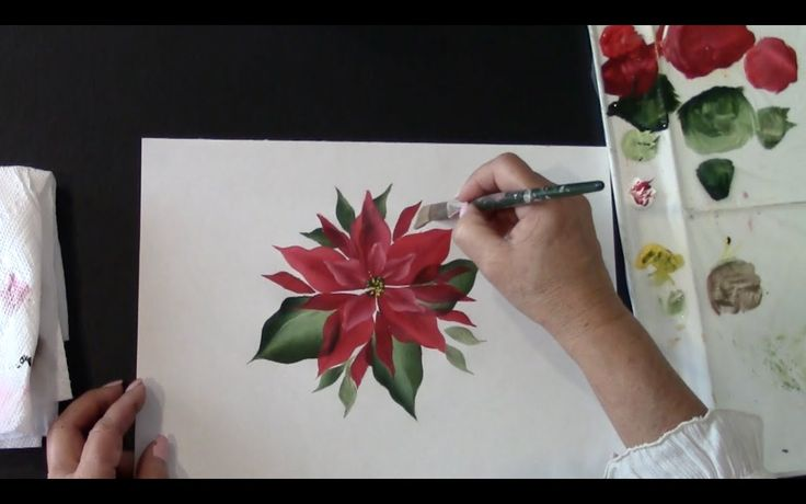 Using acrylic paint learn how easy it is to paint a poinsettia. April Numamoto shows you step by step using the One Stroke painting technique how fast and ea...