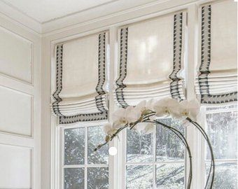 white roman shades double navy band shades window treatments cordless or cord custom curtains. Black Bedroom Furniture Sets. Home Design Ideas